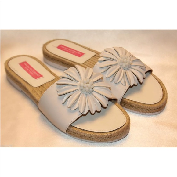 f99d1f4fdd34 Isaac Mizrahi leather flower slide sandals